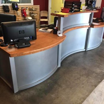 metal weld steel materials custom reception desk