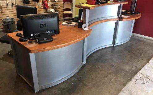 metal weld steel materials custom reception desk