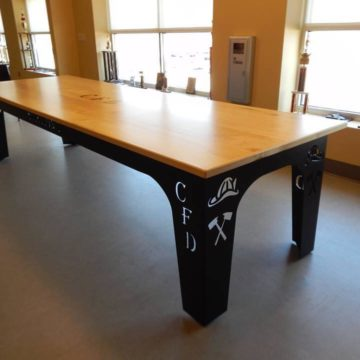 cartersville fire department custom table base steel materials
